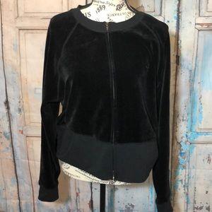 Lilly Pulitzer Vintage Black Velour Zipper Jacket